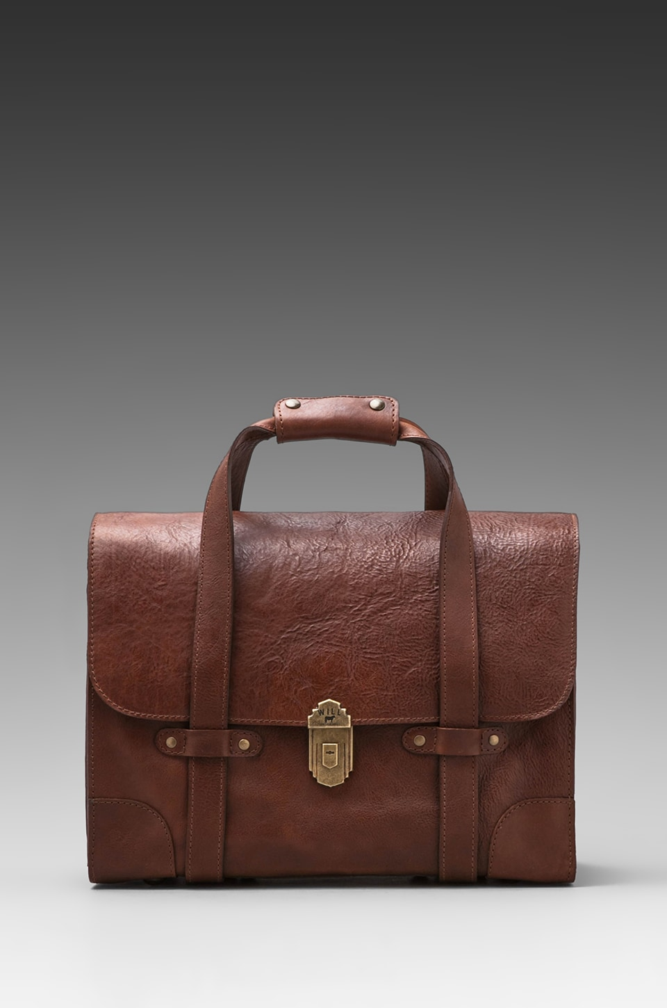 WILL Leather Goods Everett Satchel Leather Bag in Cognac