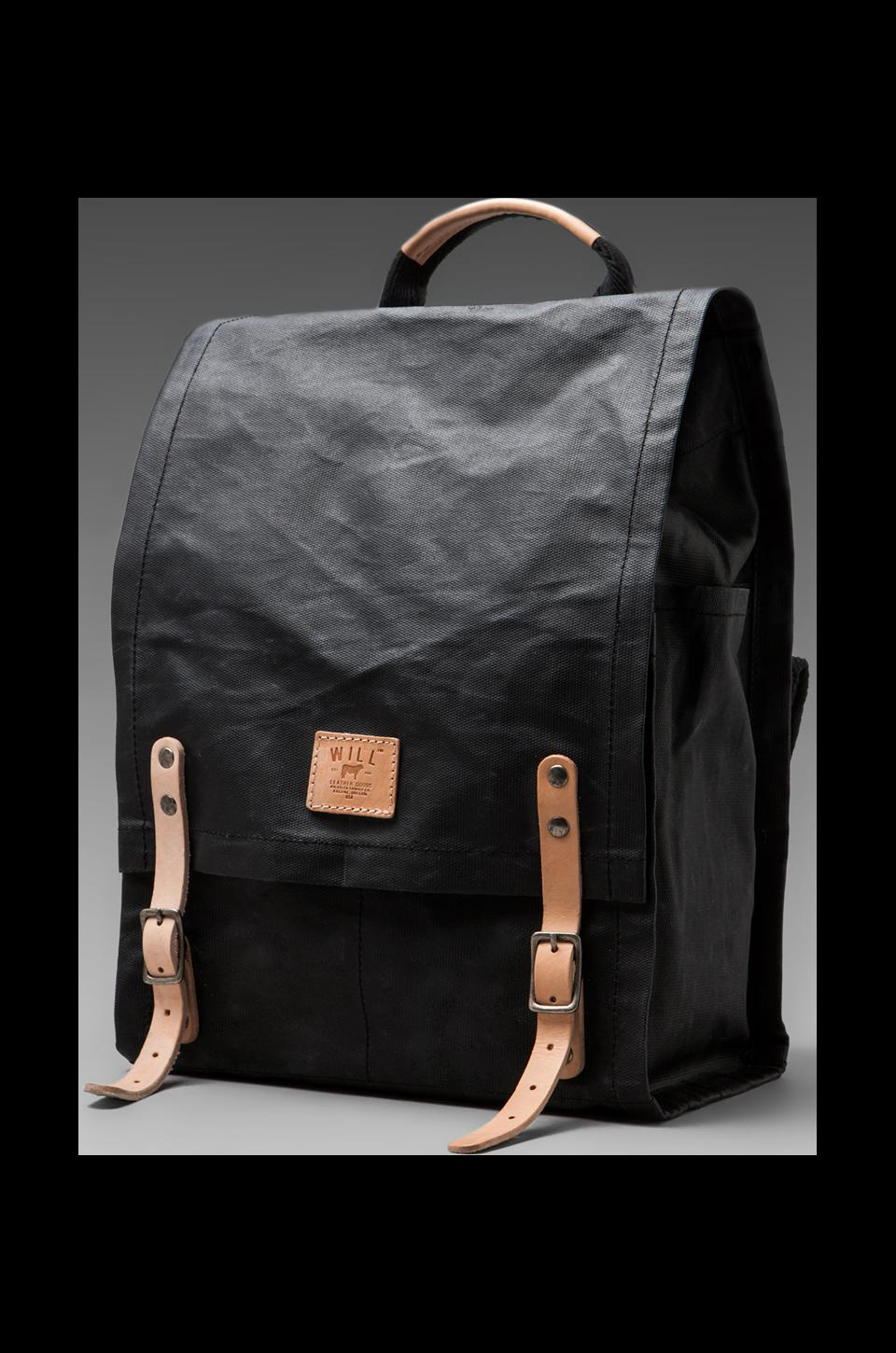 WILL Leather Goods Wax Coated Canvas Backpack in Black