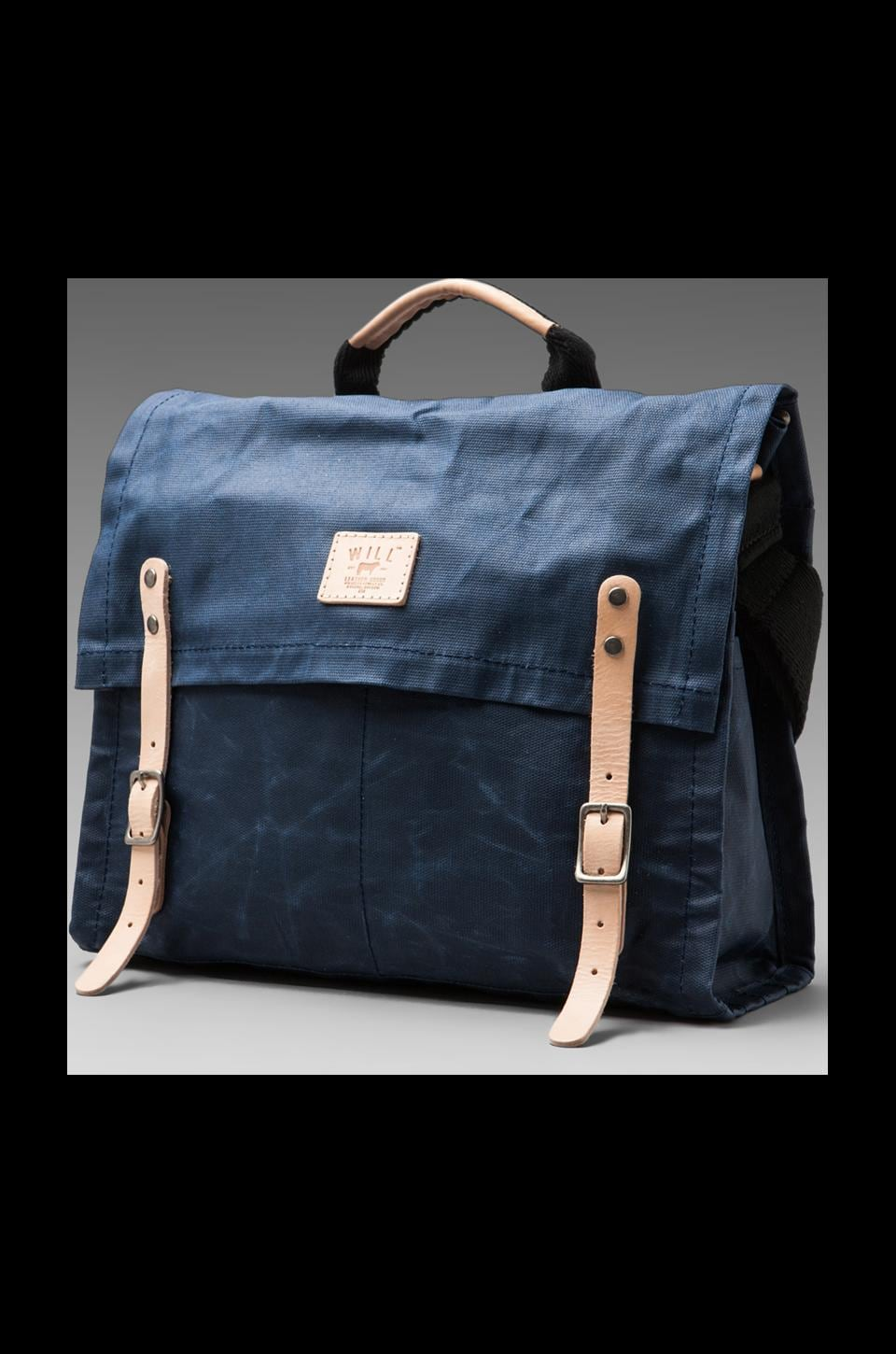 WILL Leather Goods Wax Coated Canvas Messenger in Blue