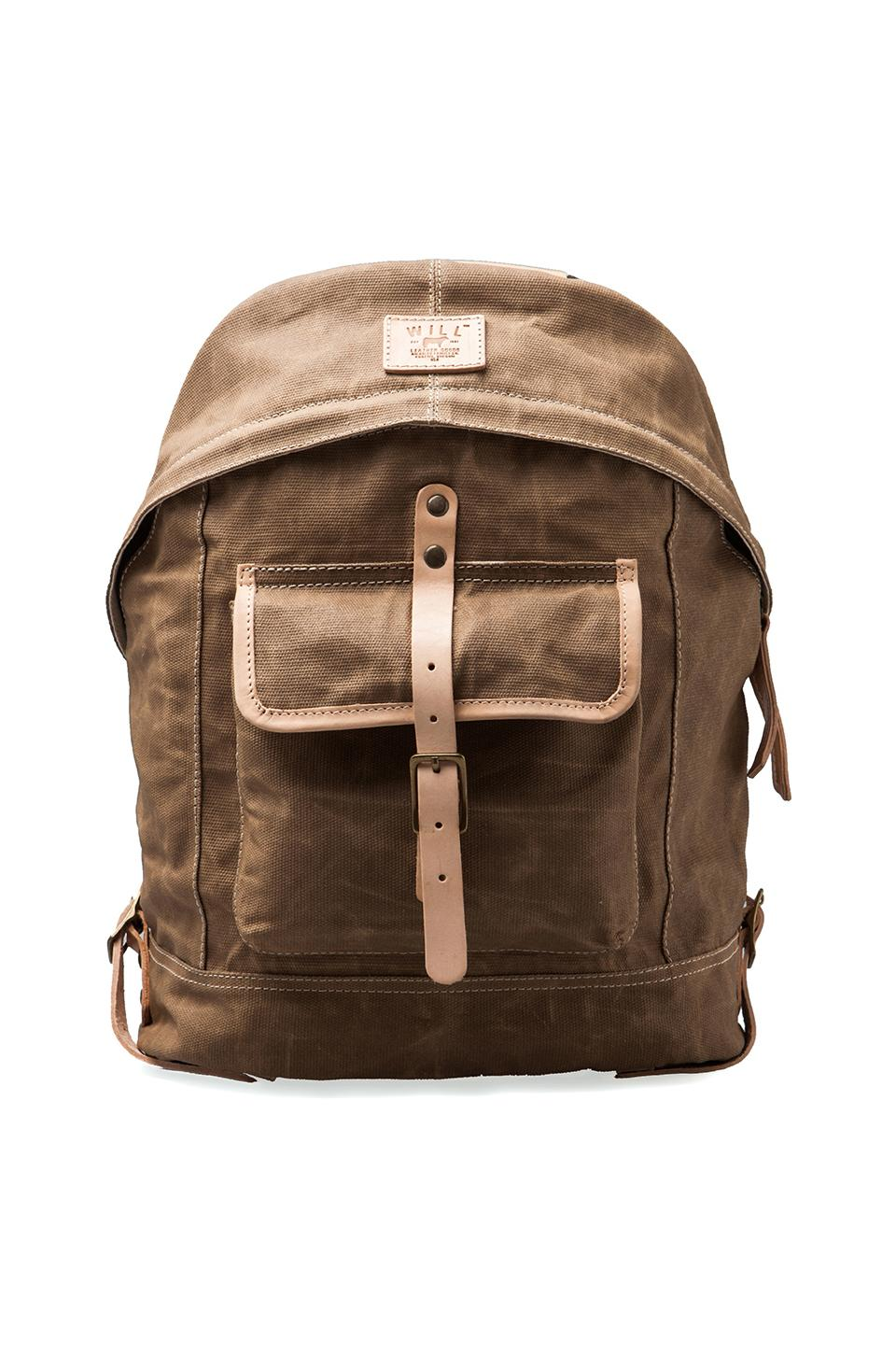 WILL Leather Goods Wax Coated Canvas Dome Backpack in Khaki