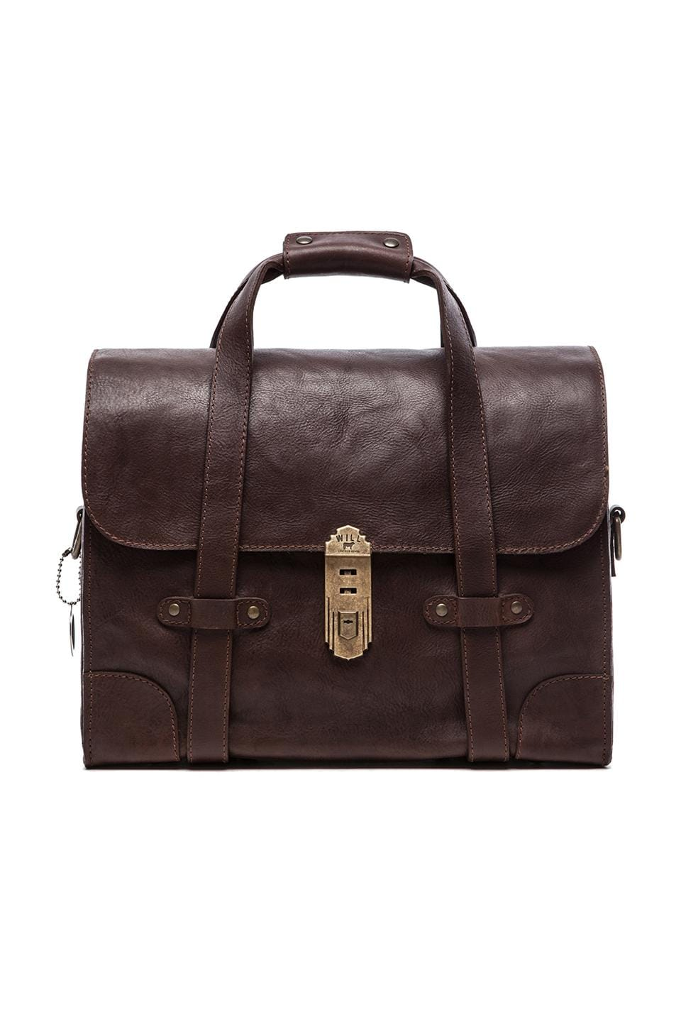 WILL Leather Goods Everett Satchel Leather Bag in Brown