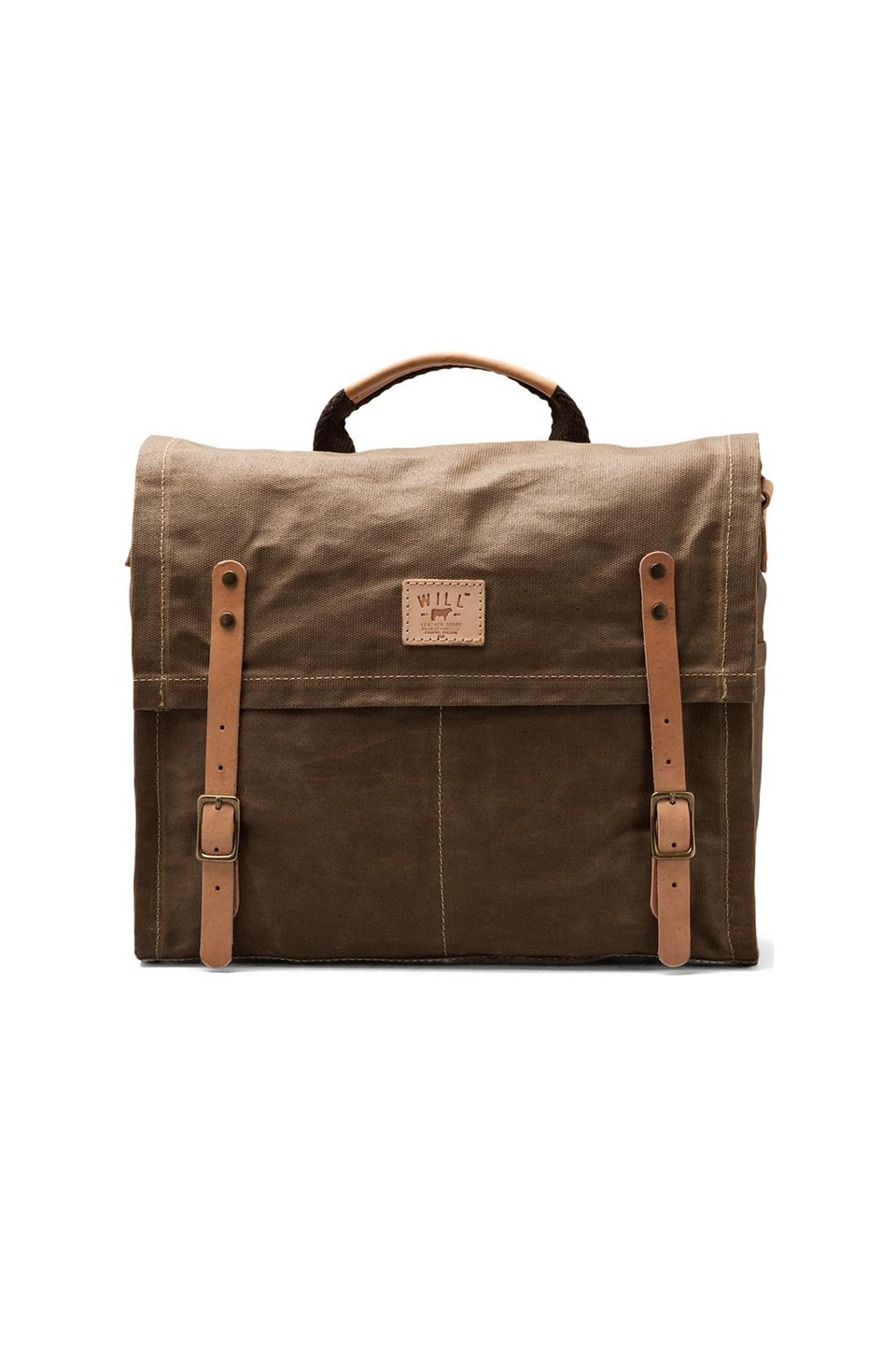 WILL Leather Goods Wax Coated Canvas Messenger in Khaki