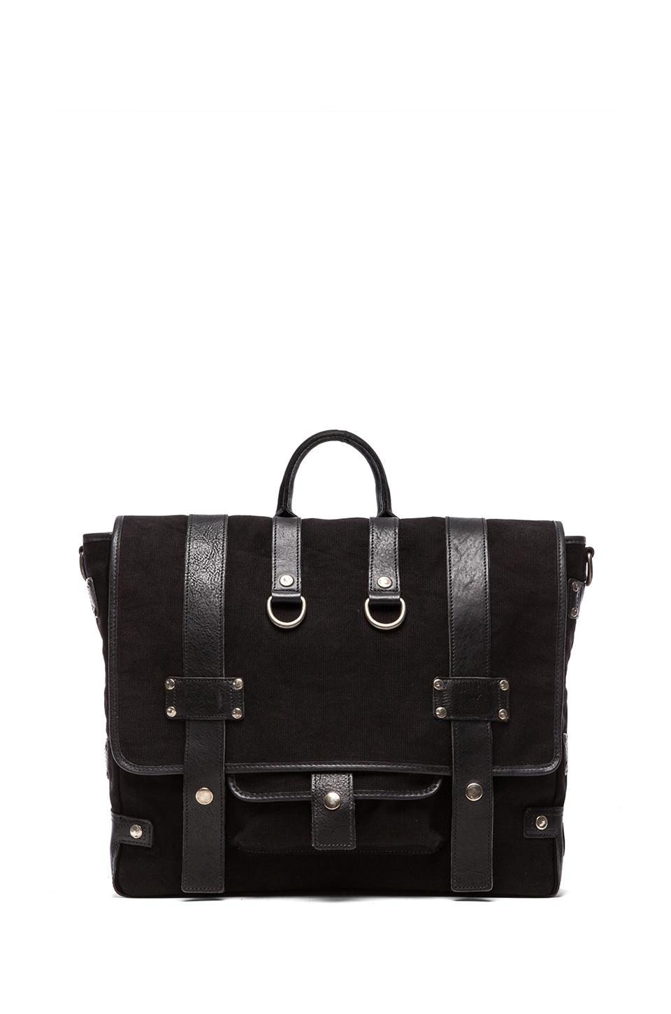 WILL Leather Goods Hopper Canvas and Leather Bag in Black/Black