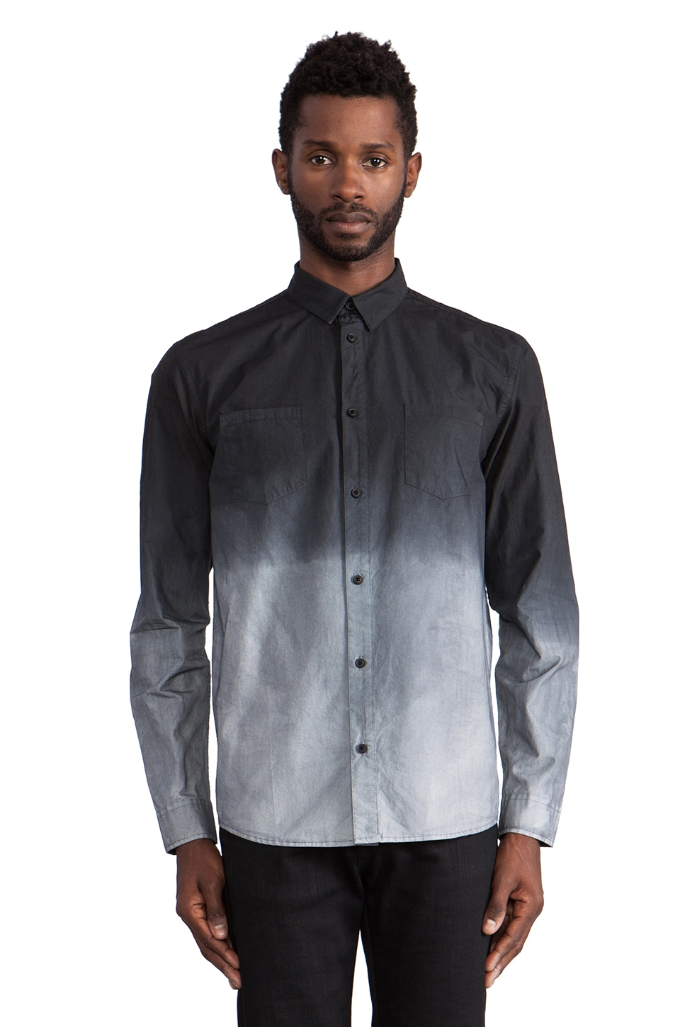 Won Hundred Must Dip Dye Button Down in Black