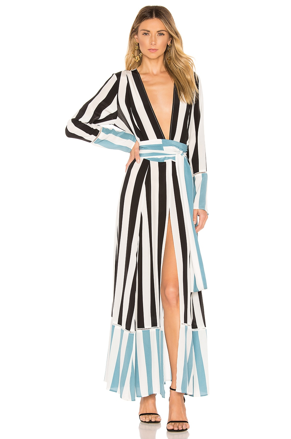 we are LEONE Contrast Maxi Cardigan Dress in Black Stripe with Powder Blue Stripes