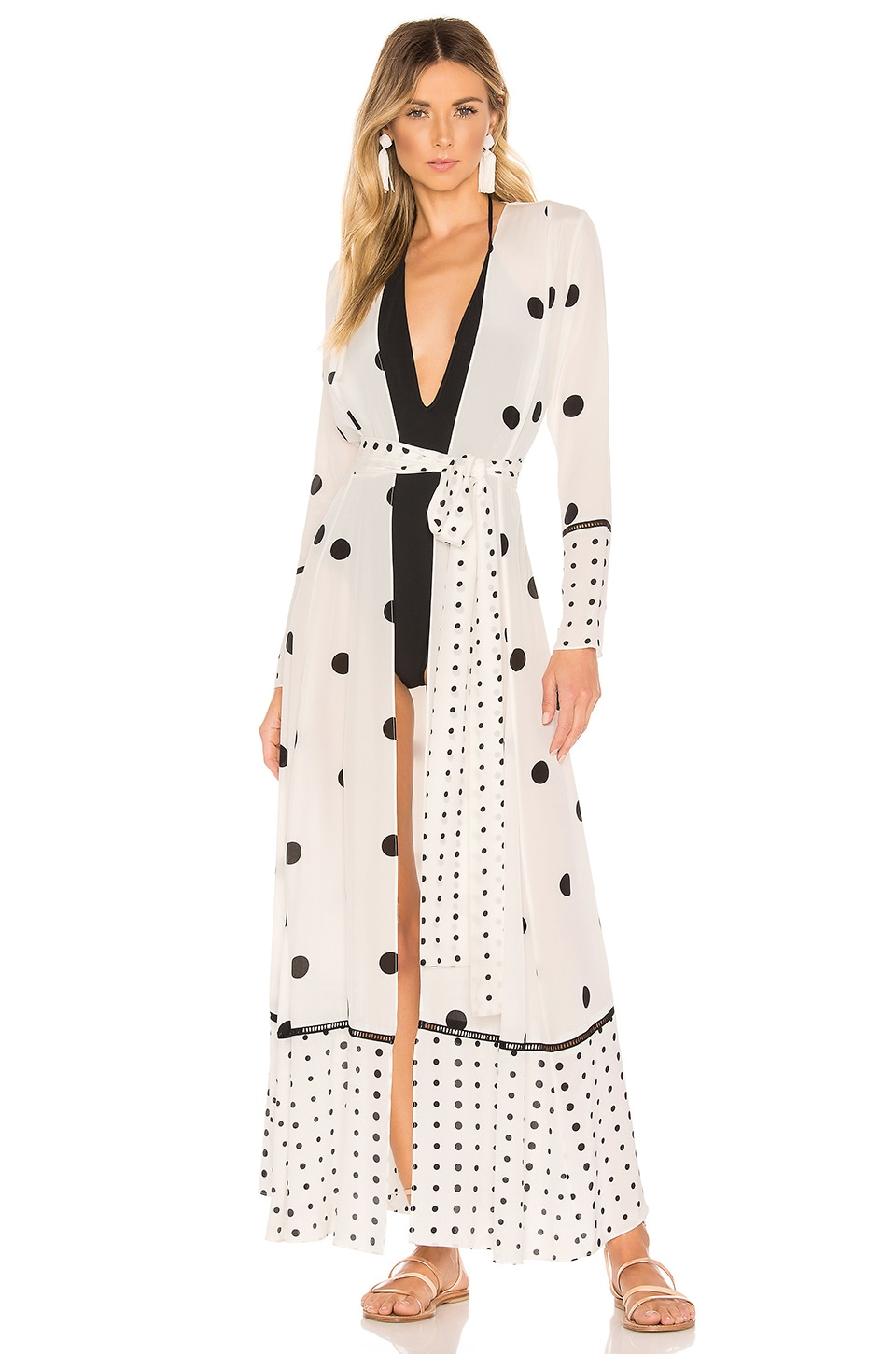 we are LEONE Contrast Maxi Cardigan Dress in White Polka Dot