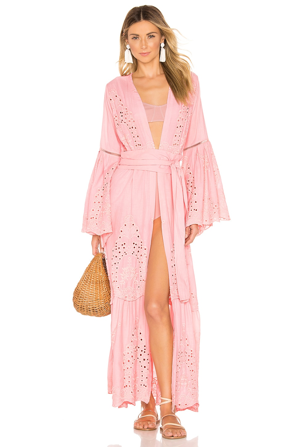 we are LEONE Embroidered Maxi Cardigan Dress in Desert Pink