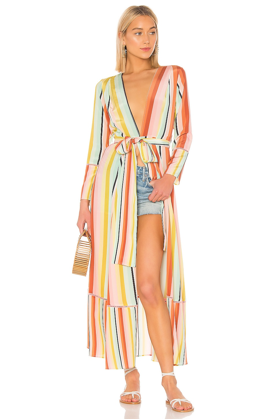 we are LEONE Contrast Maxi Cardigan Dress in Desert Stripe