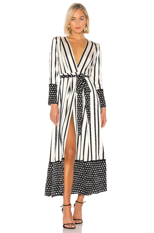 we are LEONE Contrast Maxi Dress in Black & Cream Stripe