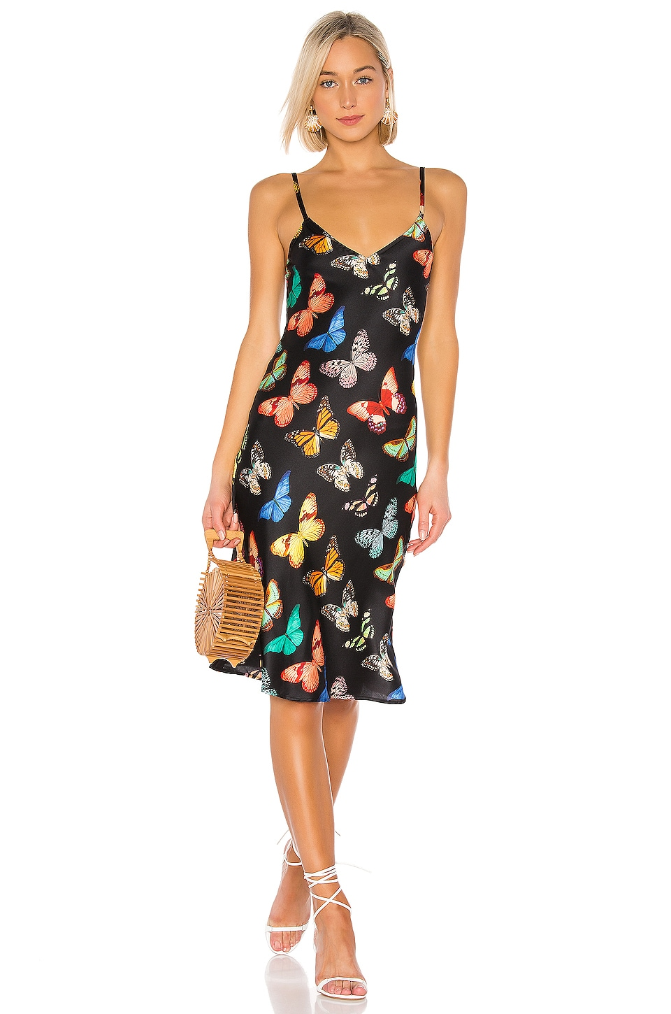 we are LEONE Margot Slip Dress in Black Butterfly