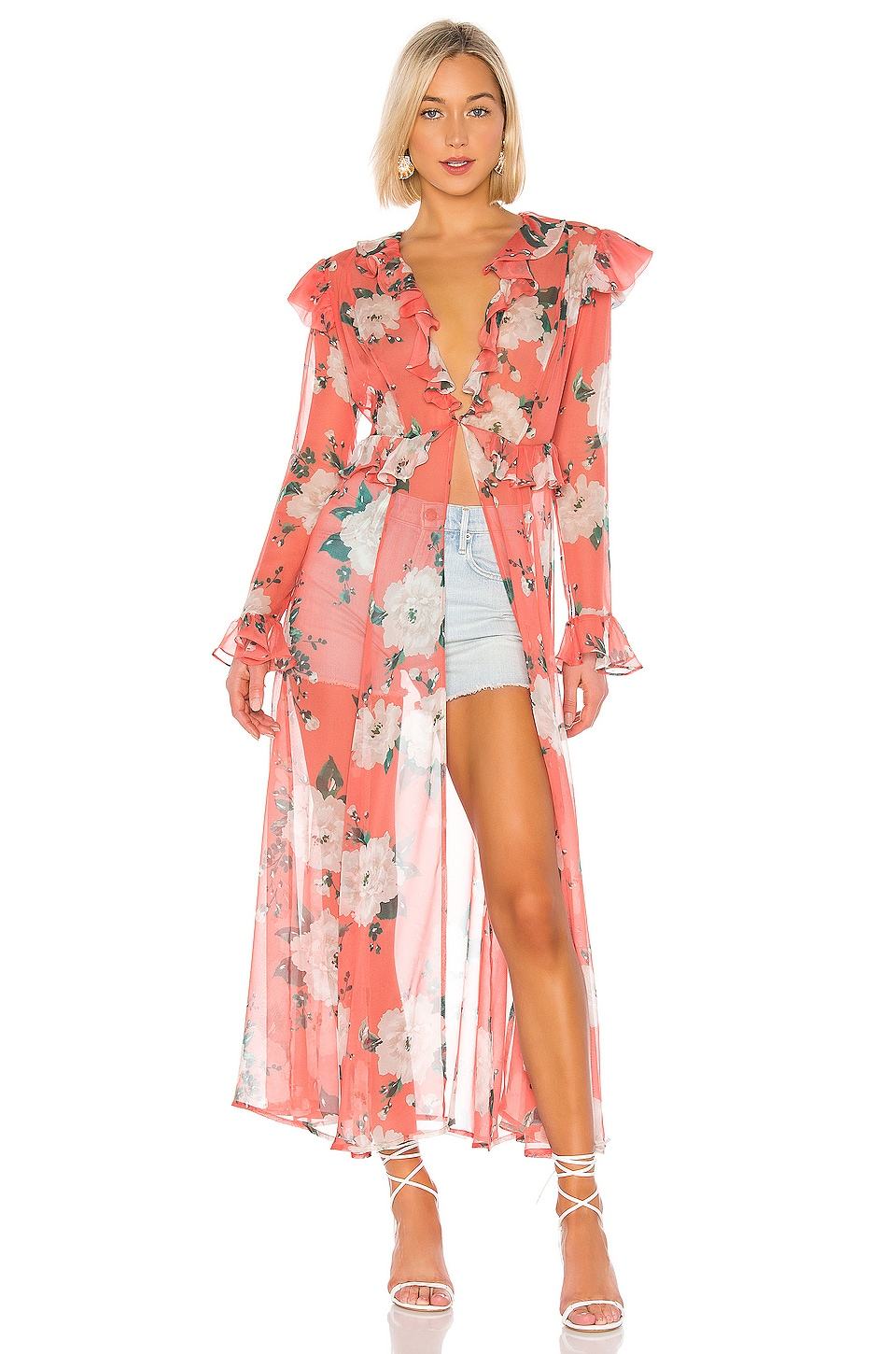 we are LEONE Marlowe Maxi Kimono in Coral Romantic Floral