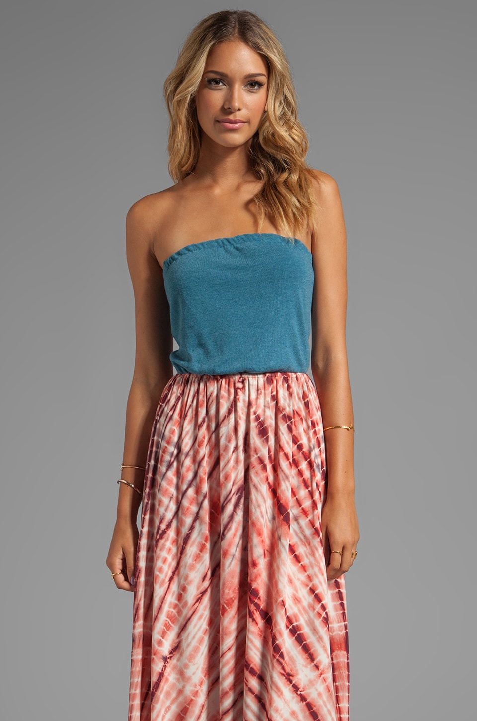 WOODLEIGH Alexa Strapless Maxi in Ocean/Blood Orange Tie Dye