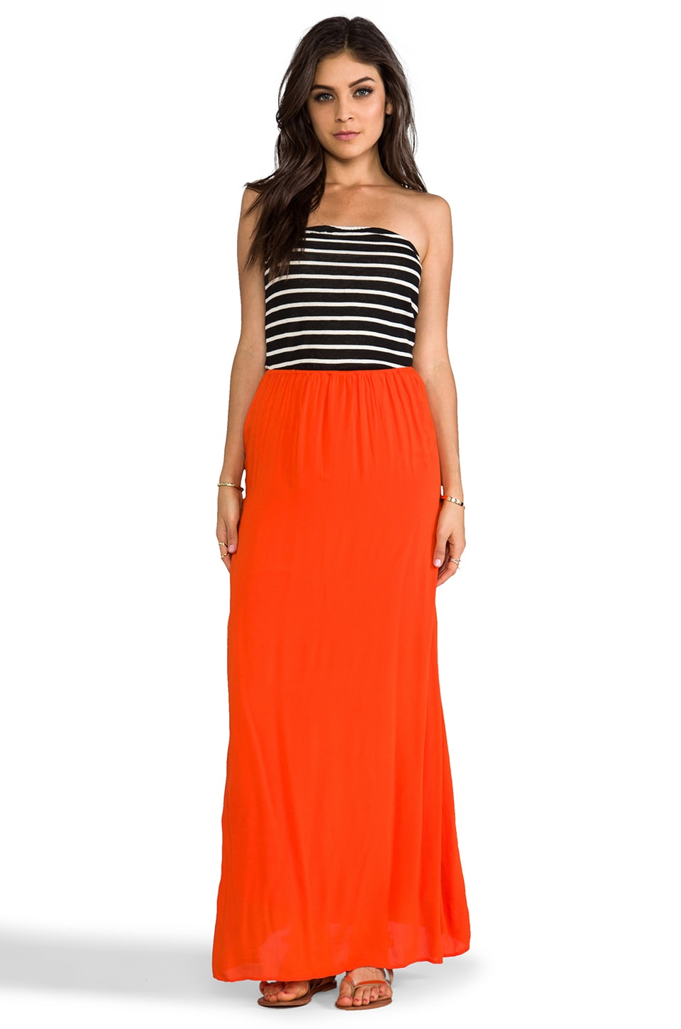 WOODLEIGH Alexa Strapless Maxi in Black & White Blood Orange