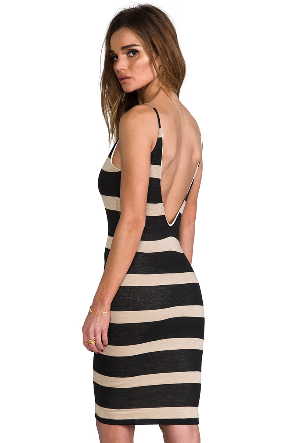 WOODLEIGH Elle Dress in Black/Camel Stripe