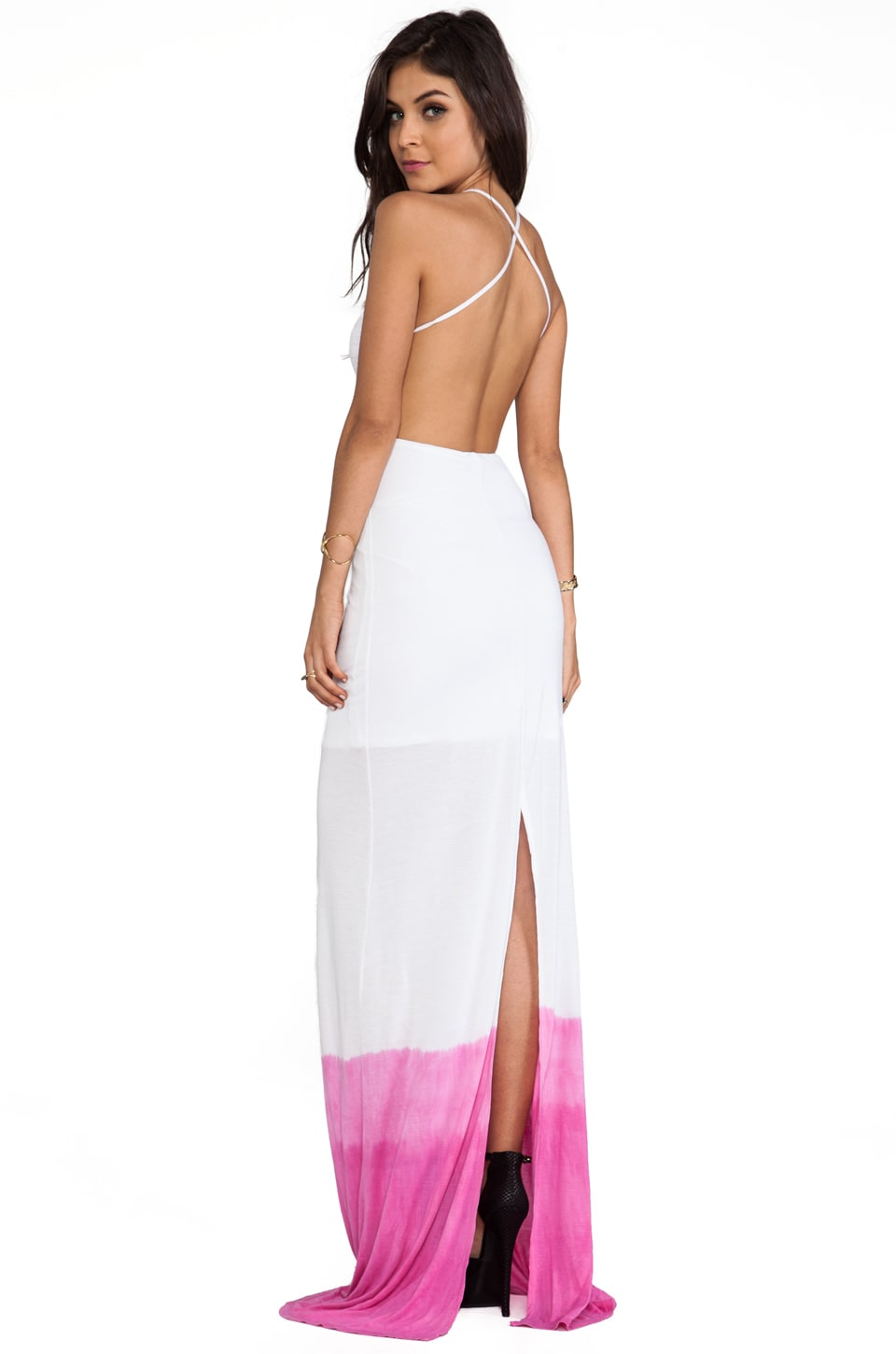 WOODLEIGH Sydney Dip Dye Maxi Dress in Fuchsia