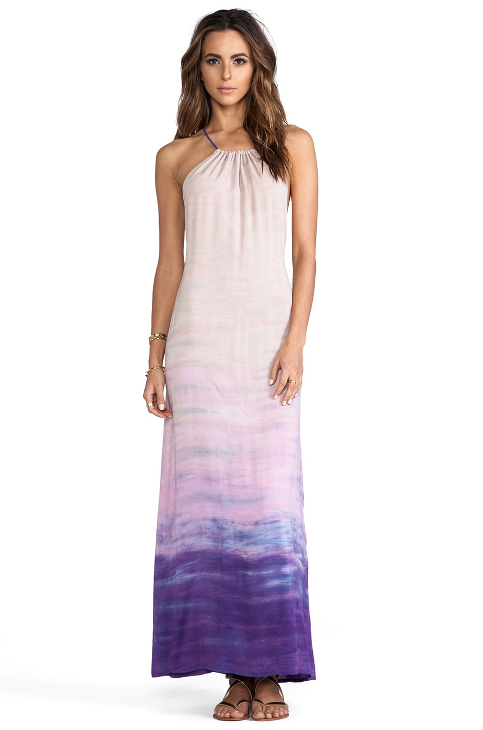 WOODLEIGH Mila Tie Dye Maxi Dress in Grape