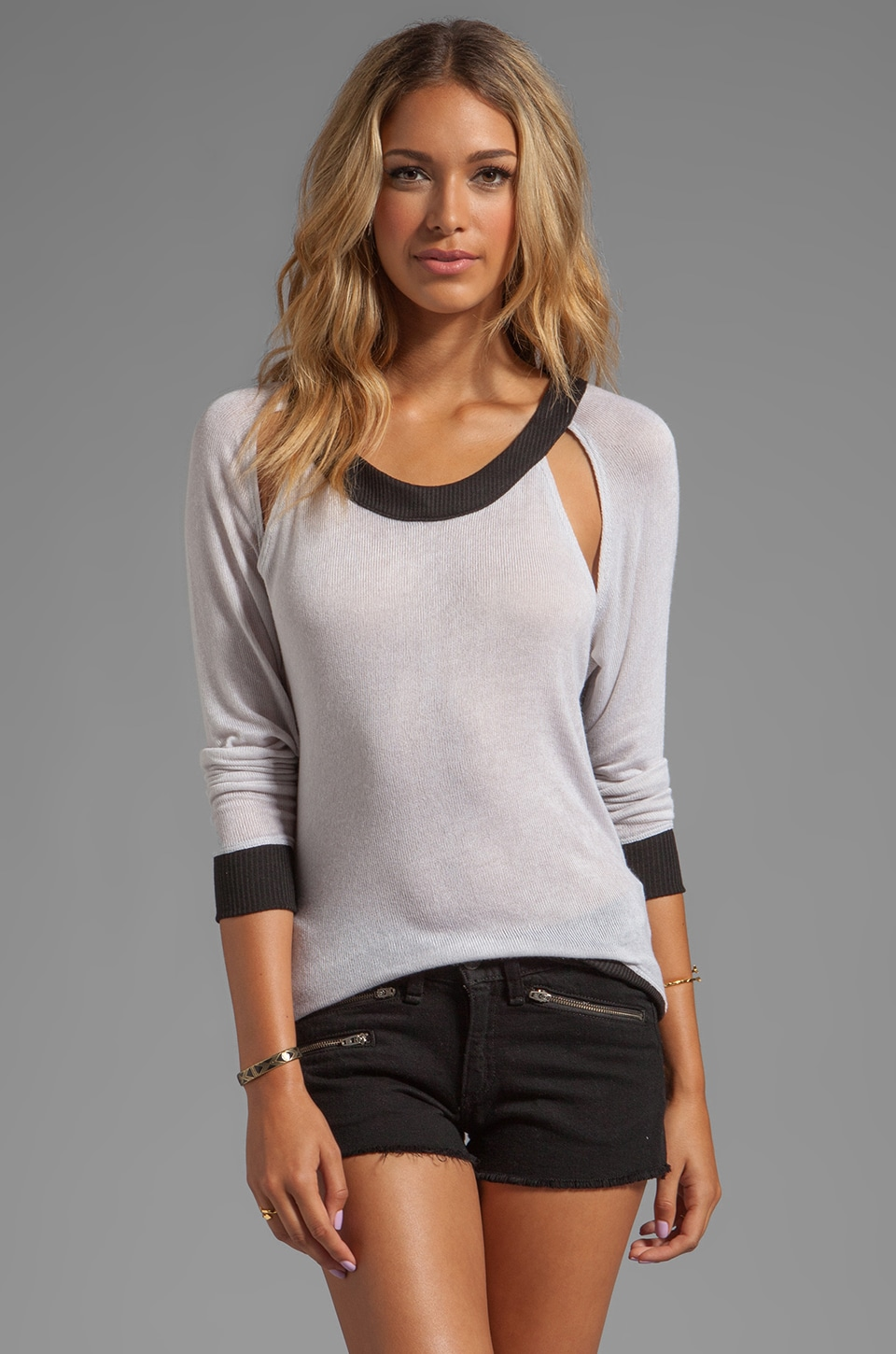 WOODLEIGH Rue Open Shoulder Sweater in Grey/Black