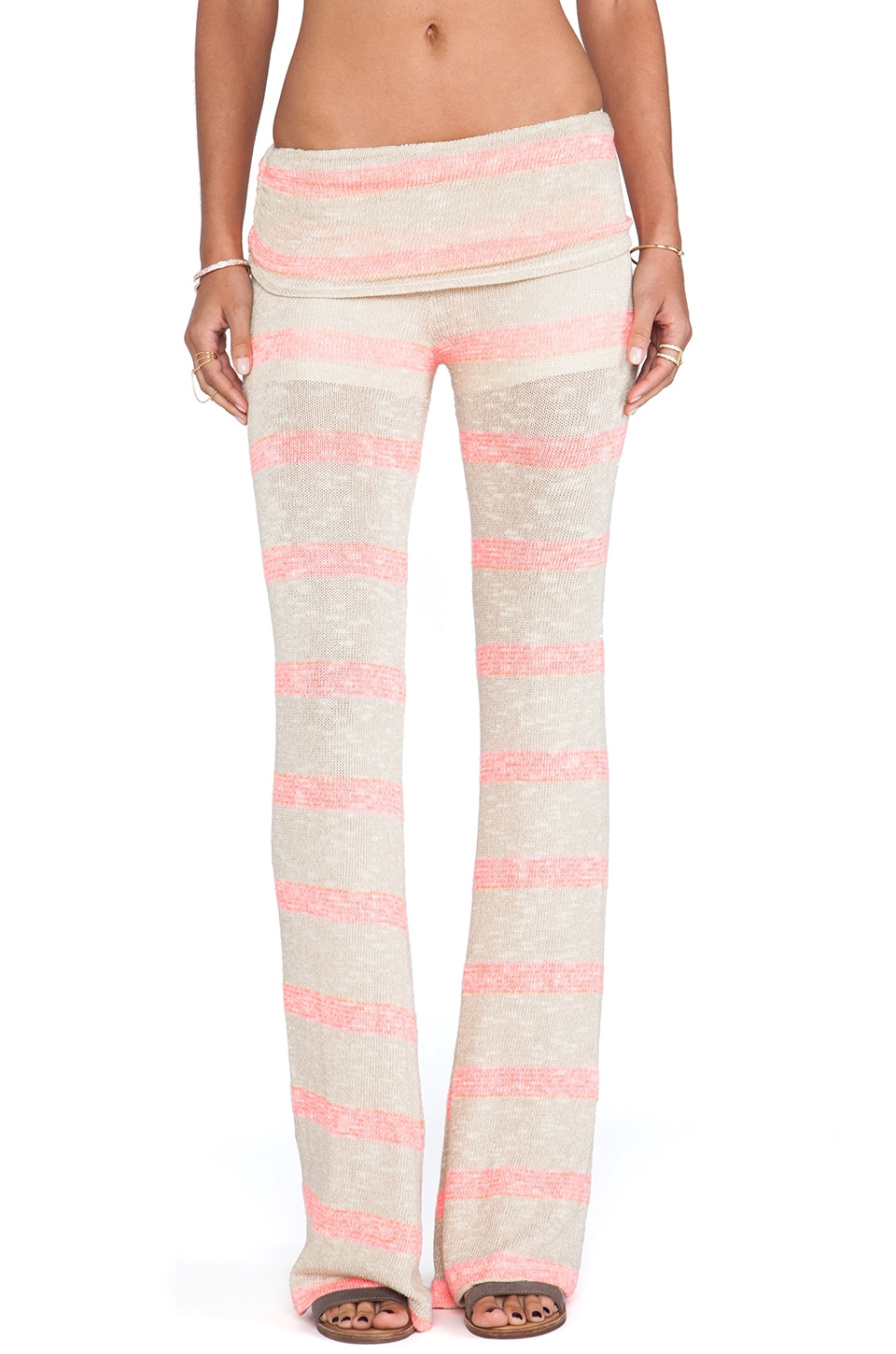 WOODLEIGH Fergie Fold Over Pant in Neon Coral