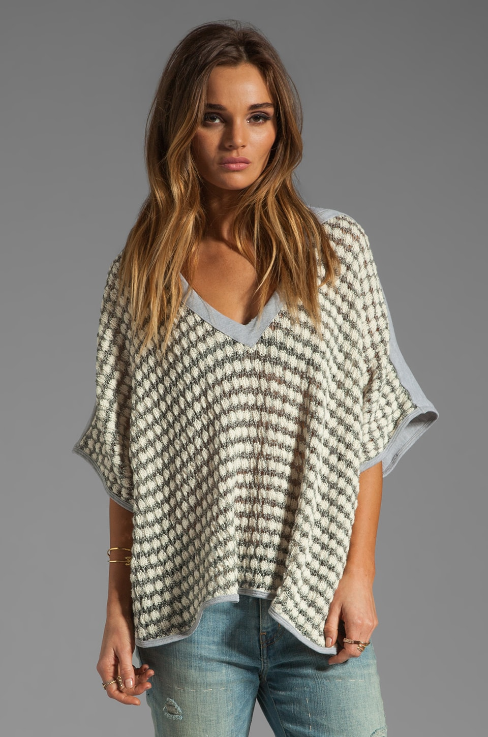 WOODLEIGH Janet Poncho in Cream Stripe