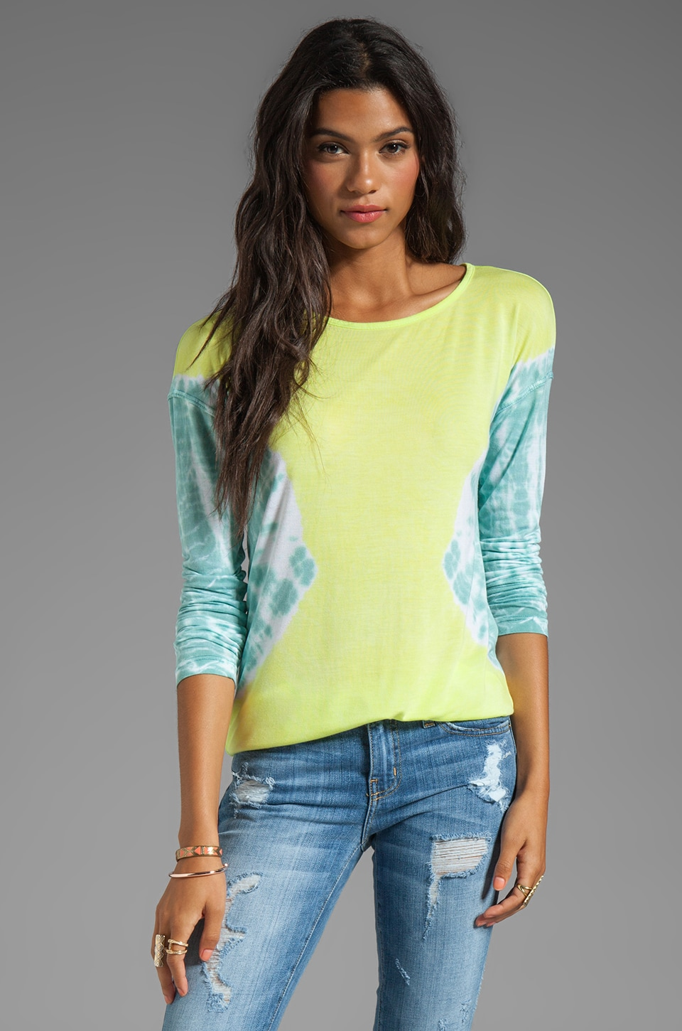 WOODLEIGH Kyra V-Back Long Sleeve Tie Dye Top in Chartreuse
