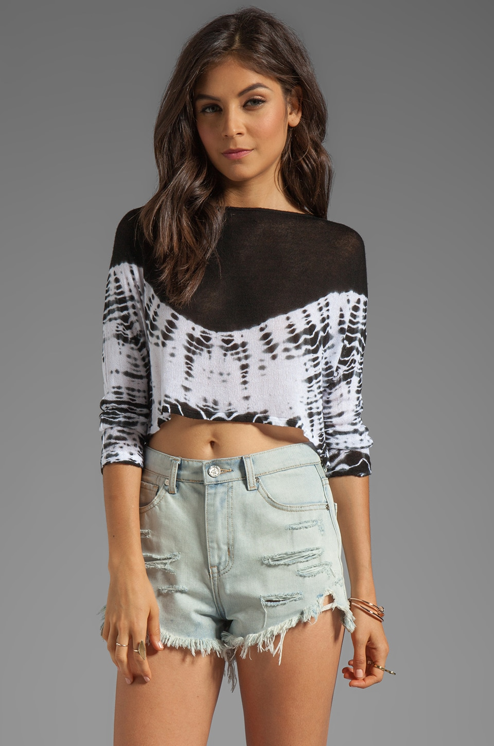 WOODLEIGH Amile Alligator Tie Dye Crop Top in Charcoal