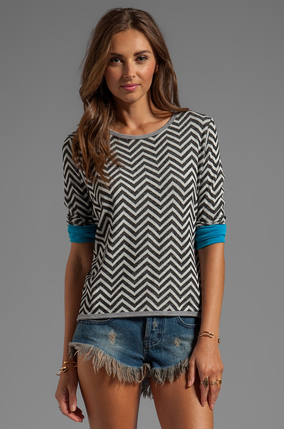 WOODLEIGH Breana Crochet Top in Black/White Stripe Multi