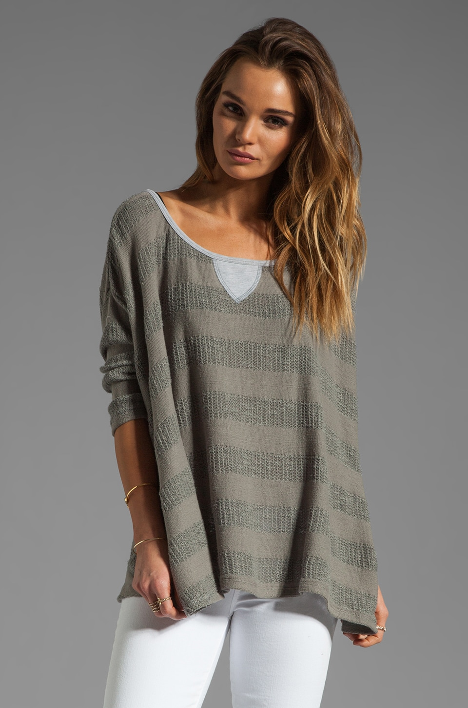 WOODLEIGH Krystal 1/4 Sleeve Top in Grey