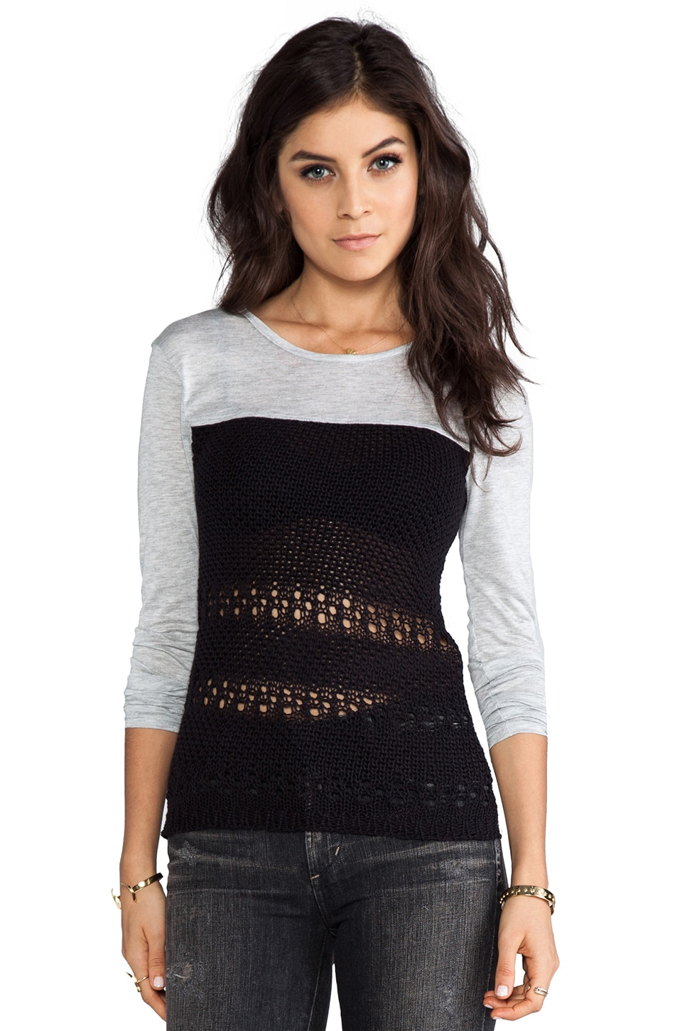 WOODLEIGH Dakota Top in Heather/Black