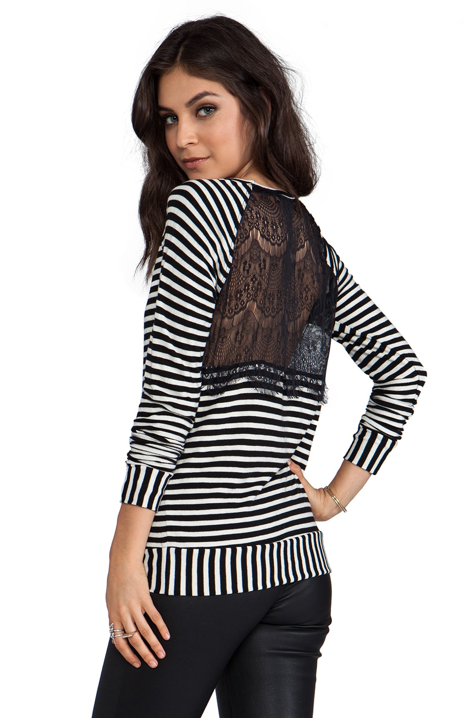 WOODLEIGH Ramona Top en Black/White Stripe