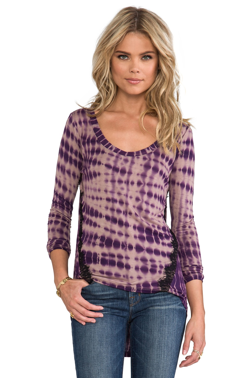 WOODLEIGH Charlene Top in Eggplant Alligator