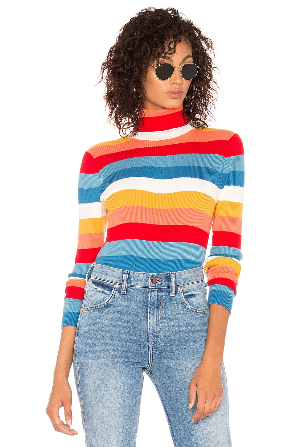 WRANGLER Rainbow Stripe Rib Sweater in Orange