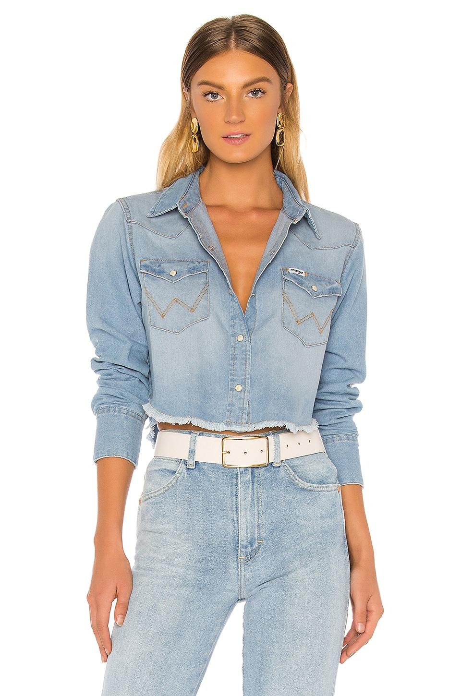 Wrangler Crop Denim Shirt in Bleach