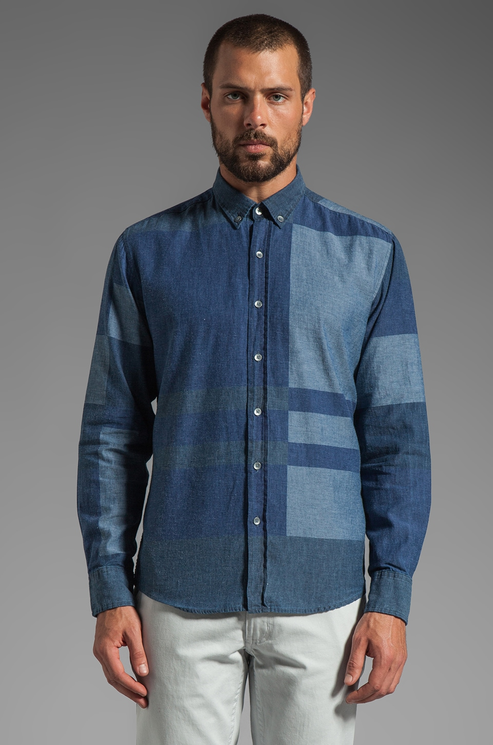 WRK Portland Long Sleeve Shirt in Indigo Plaid