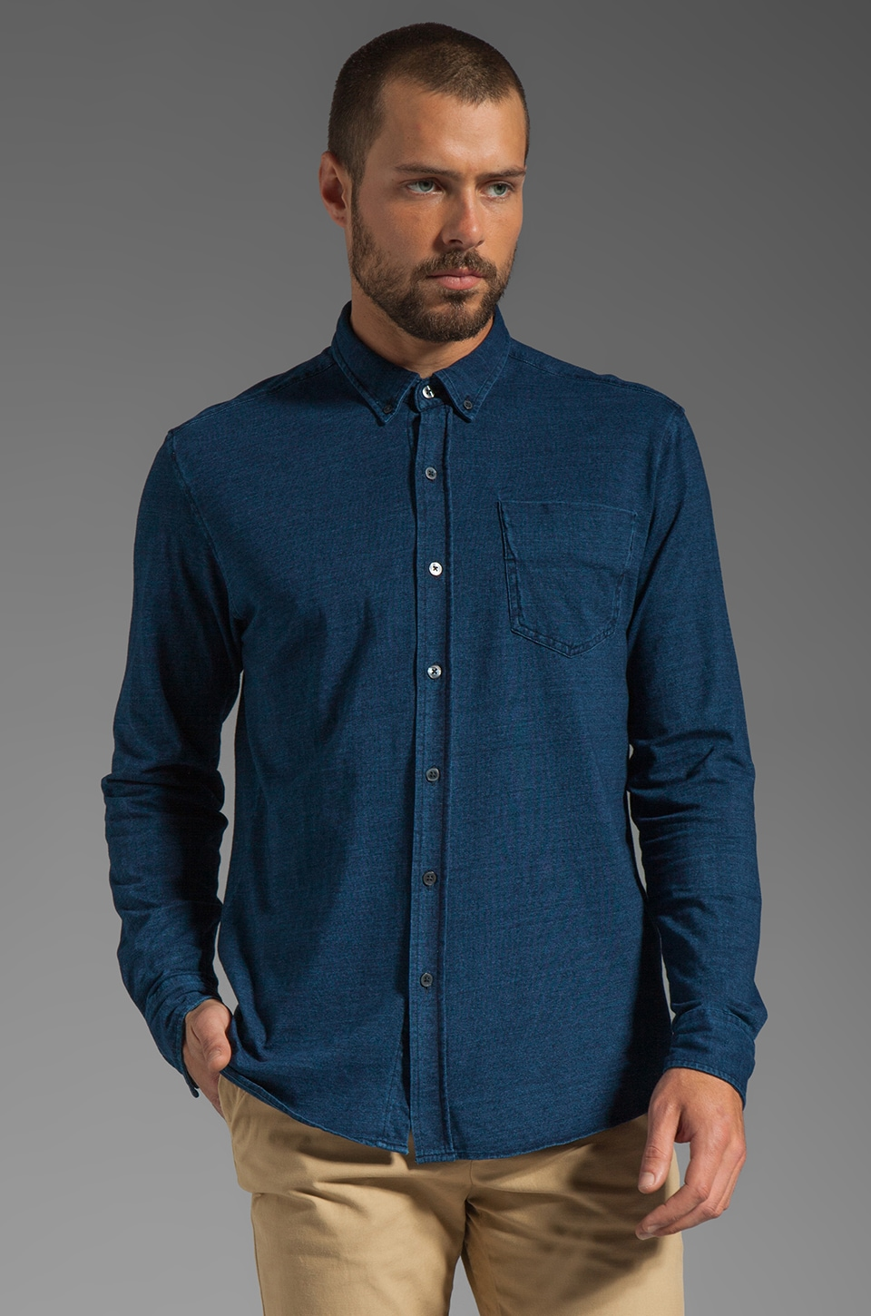 WRK Tailor's Long Sleeve Shirt in Navy