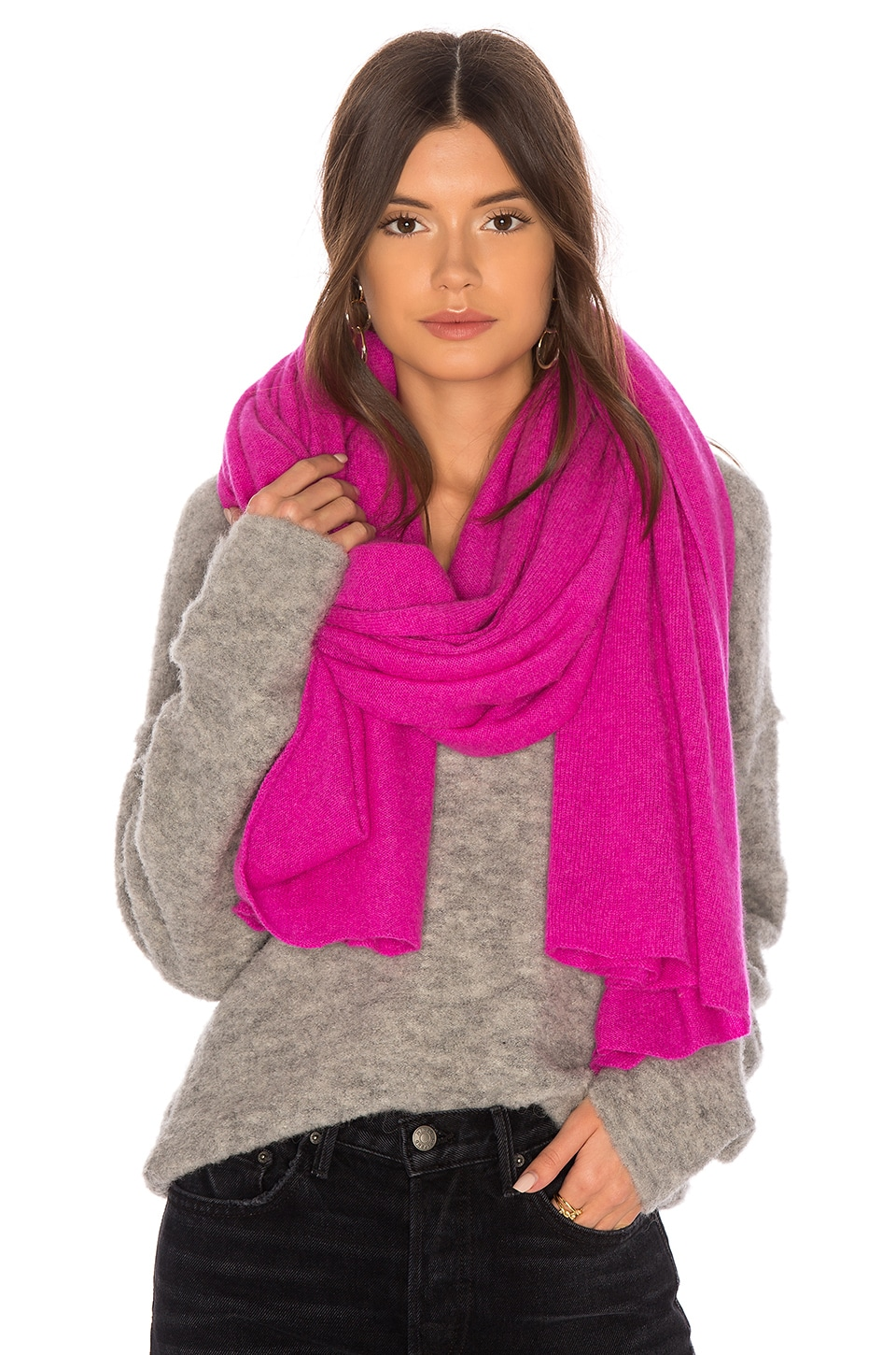 White + Warren Travel Wrap in Bright Fuchsia