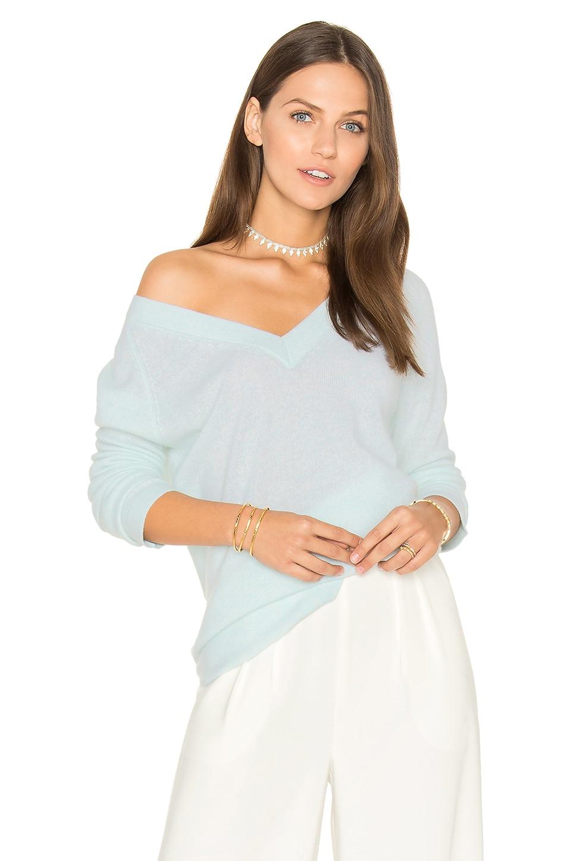 White + Warren Blue Side Slit V Neck Sweater