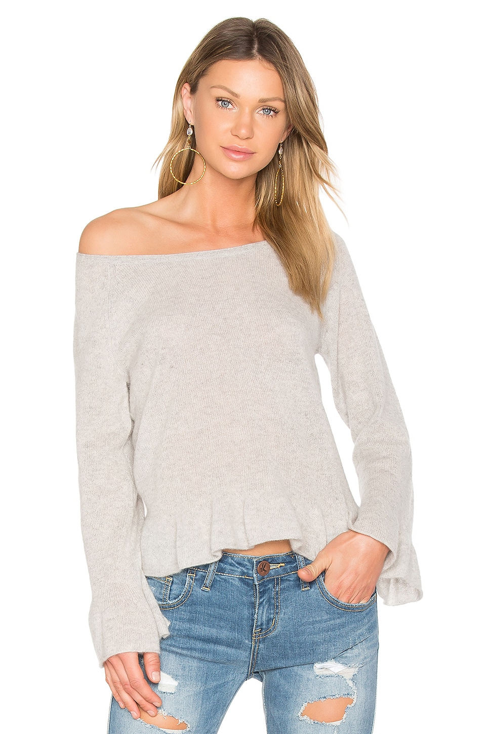 White + Warren Ruffle Hem Sweater in Misty Grey Heather