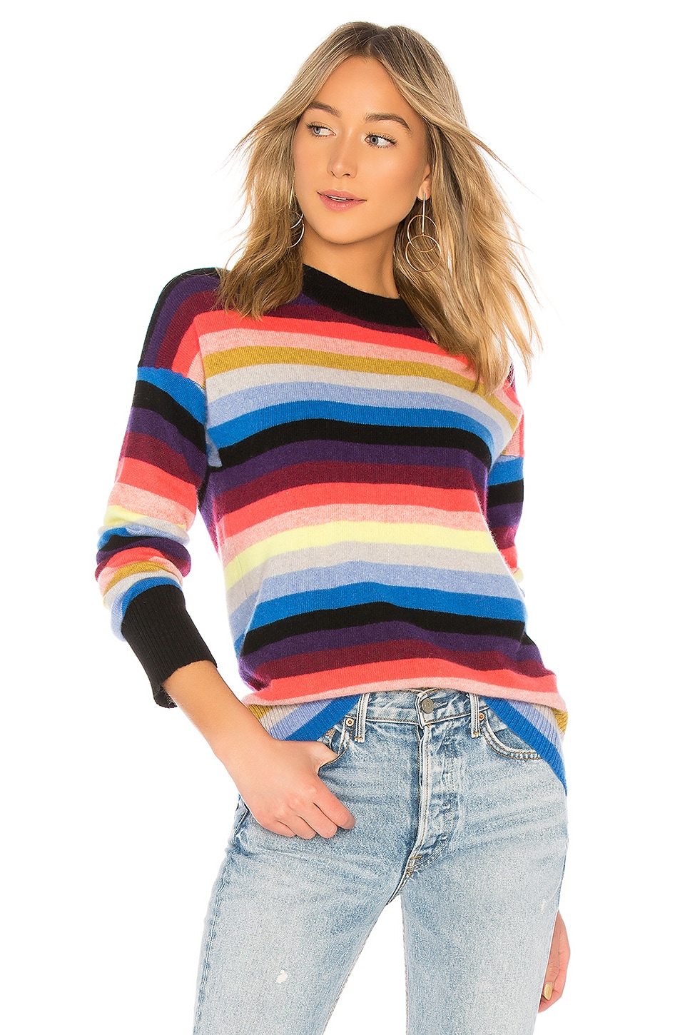 White + Warren Multicolor Stripe Sweater in Chroma Multi