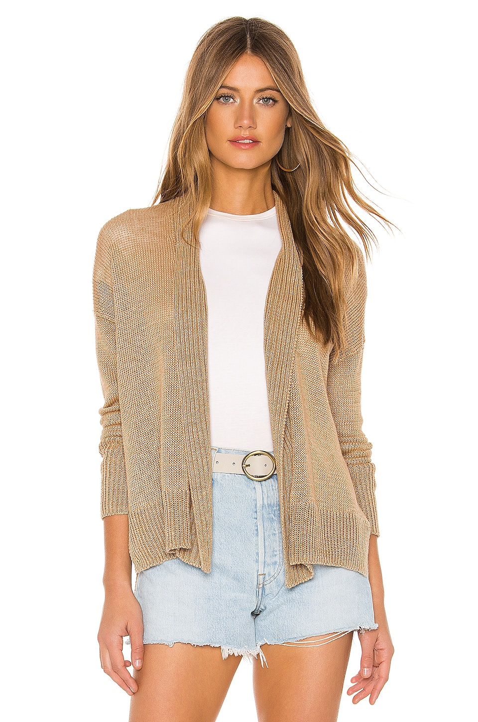 White + Warren Hi Lo Open Cardigan in Goldstone Heather