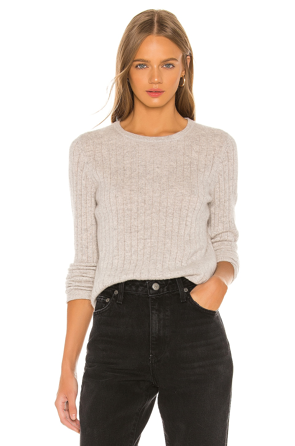 White + Warren Slim Essential Crew Sweater in Misty Grey Heather