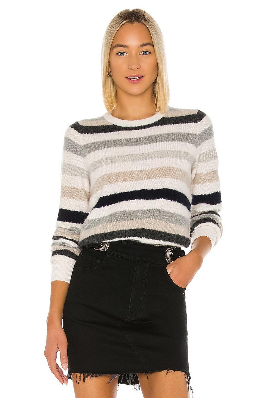 White + Warren Bold Stripe Sweatshirt in Grey Combo