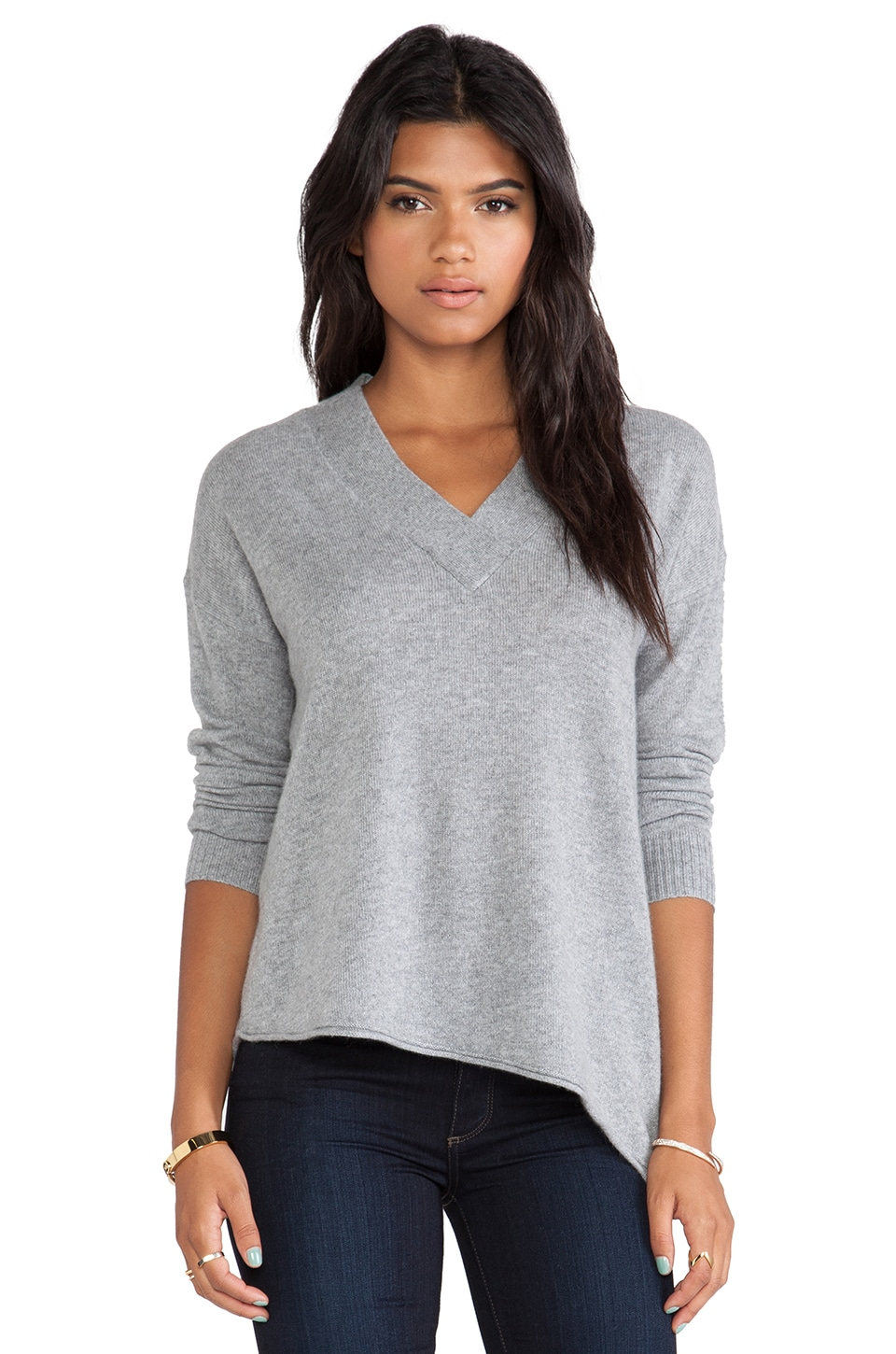 White + Warren Wide Trim V Neck Sweater in Nickel Heather