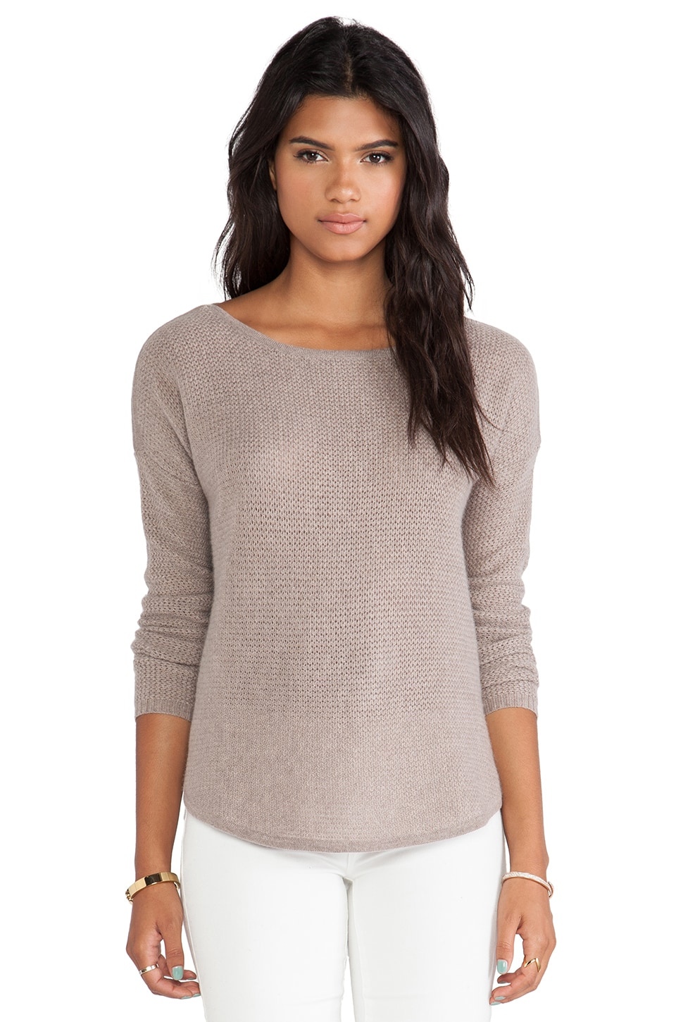 White + Warren Rickrack Slash Neck Sweater in Mocha Heather
