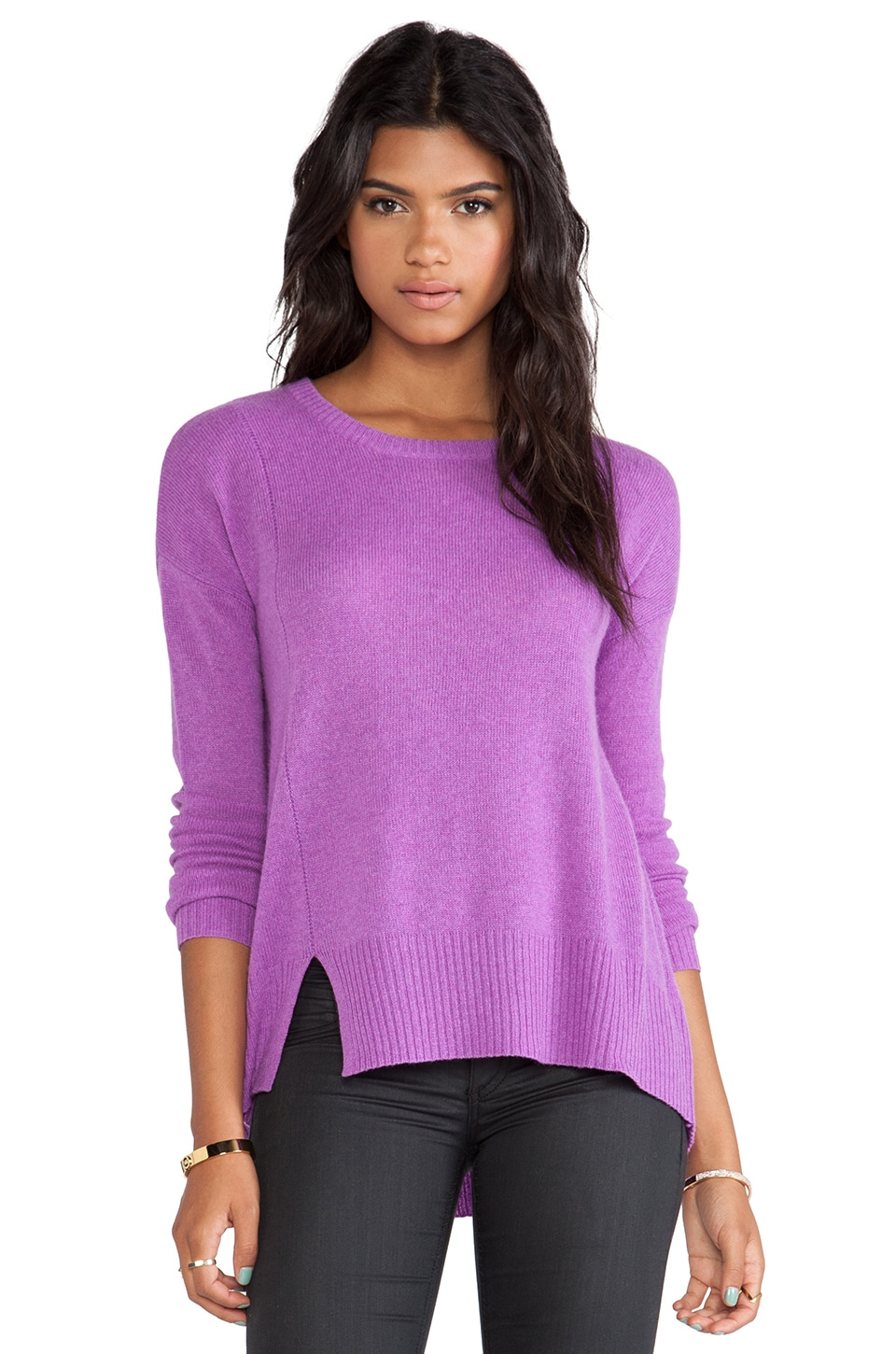 White + Warren Notch Hem Crewneck Sweater in Orchid Heather