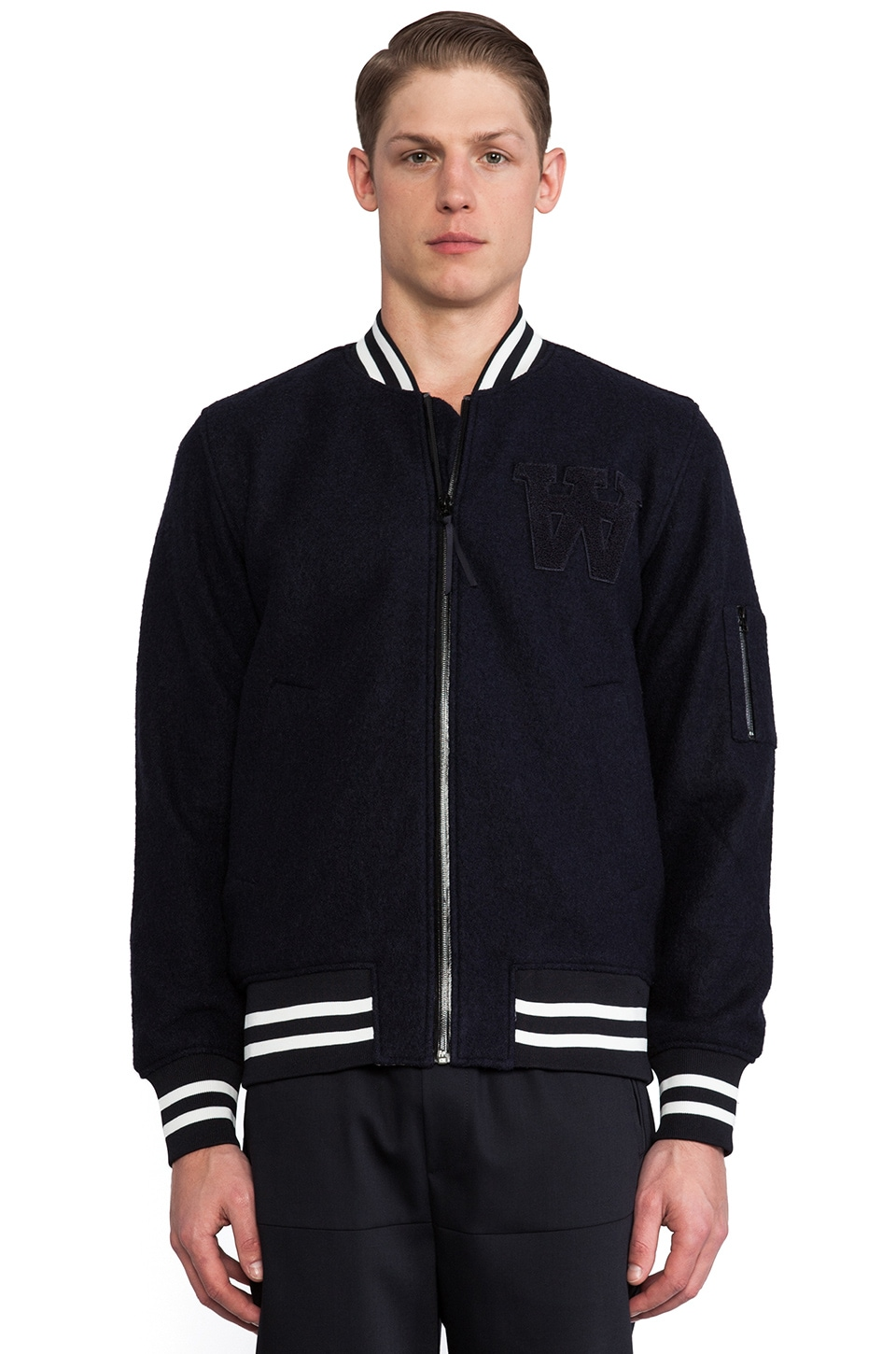 Wood Wood Leonce Bomber in Navy
