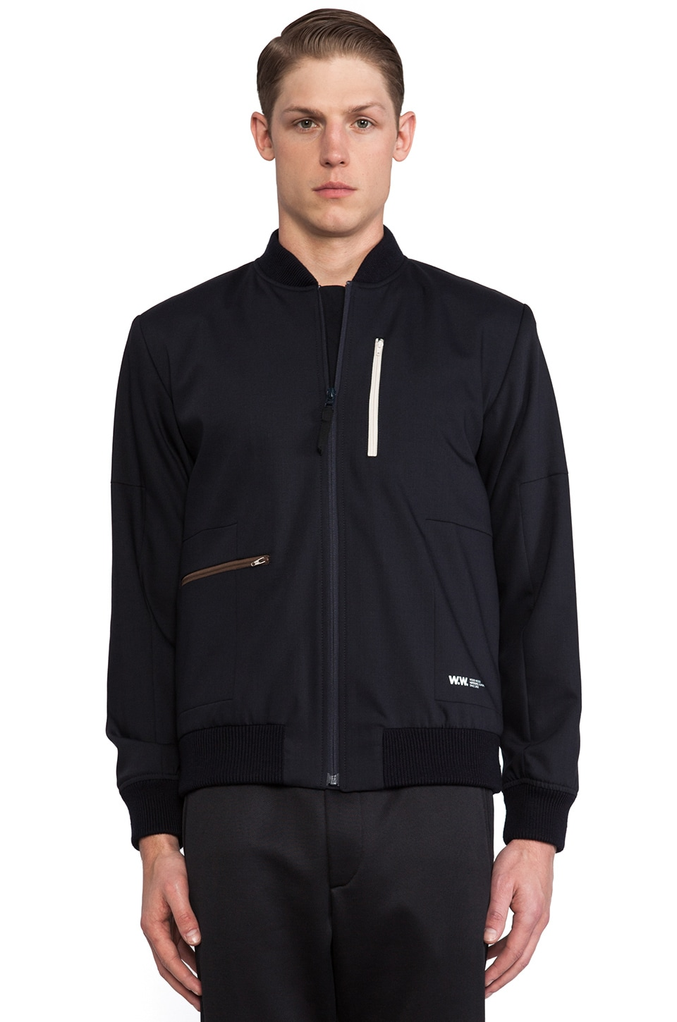 Wood Wood Bleeker Bomber in Dark Navy