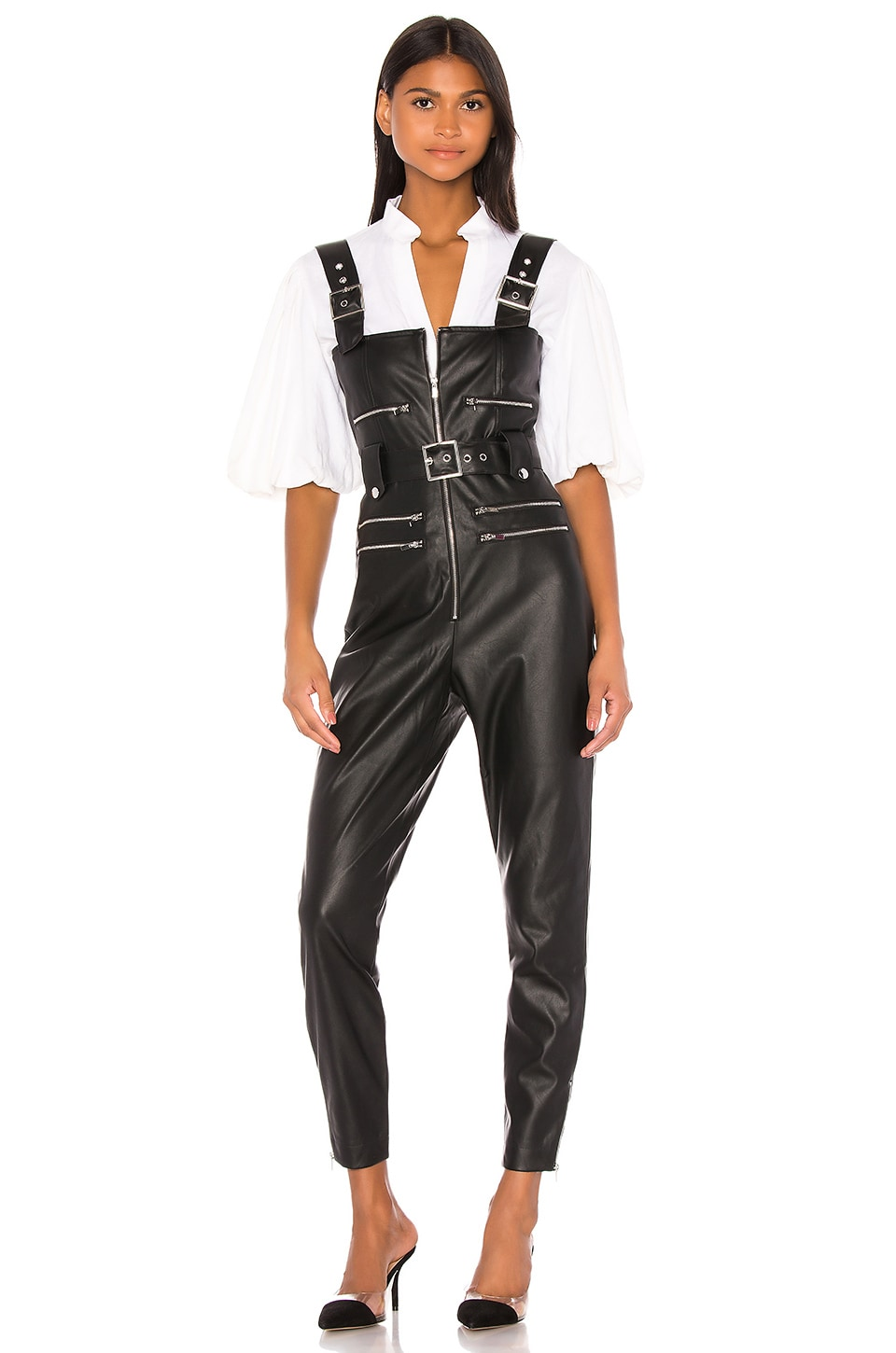 WeWoreWhat Moto Vegan Leather Overalls in Black