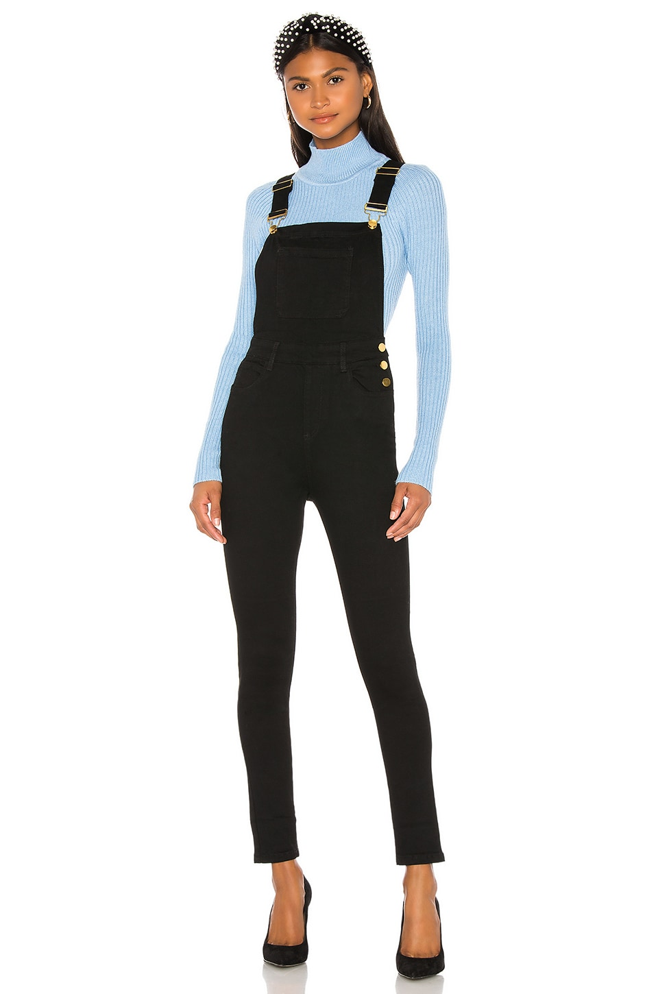 WeWoreWhat High Rise Skinny Overalls in Black