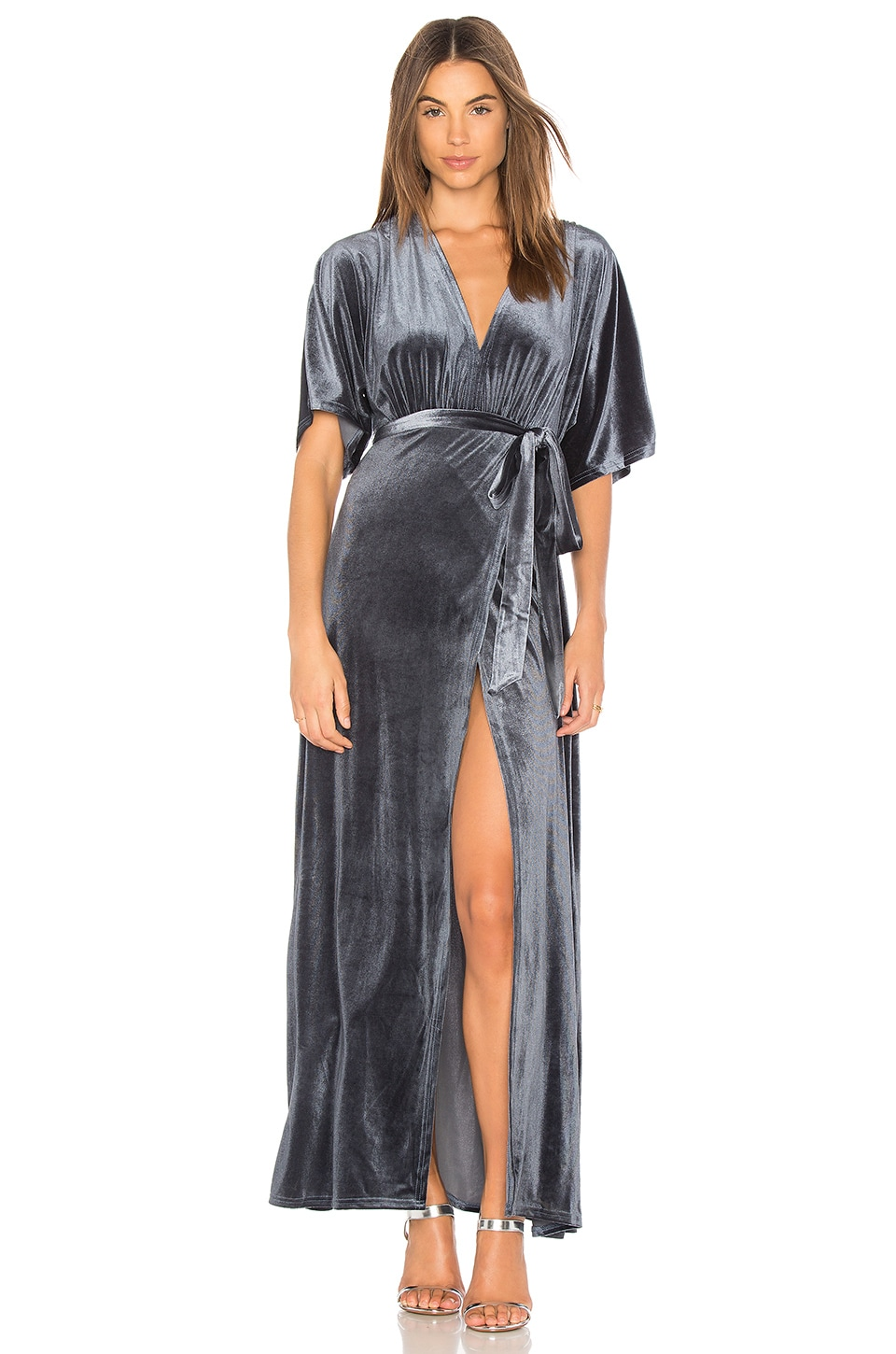 WYLDR Dreamer Velvet Wrap Dress in Dusty Blue