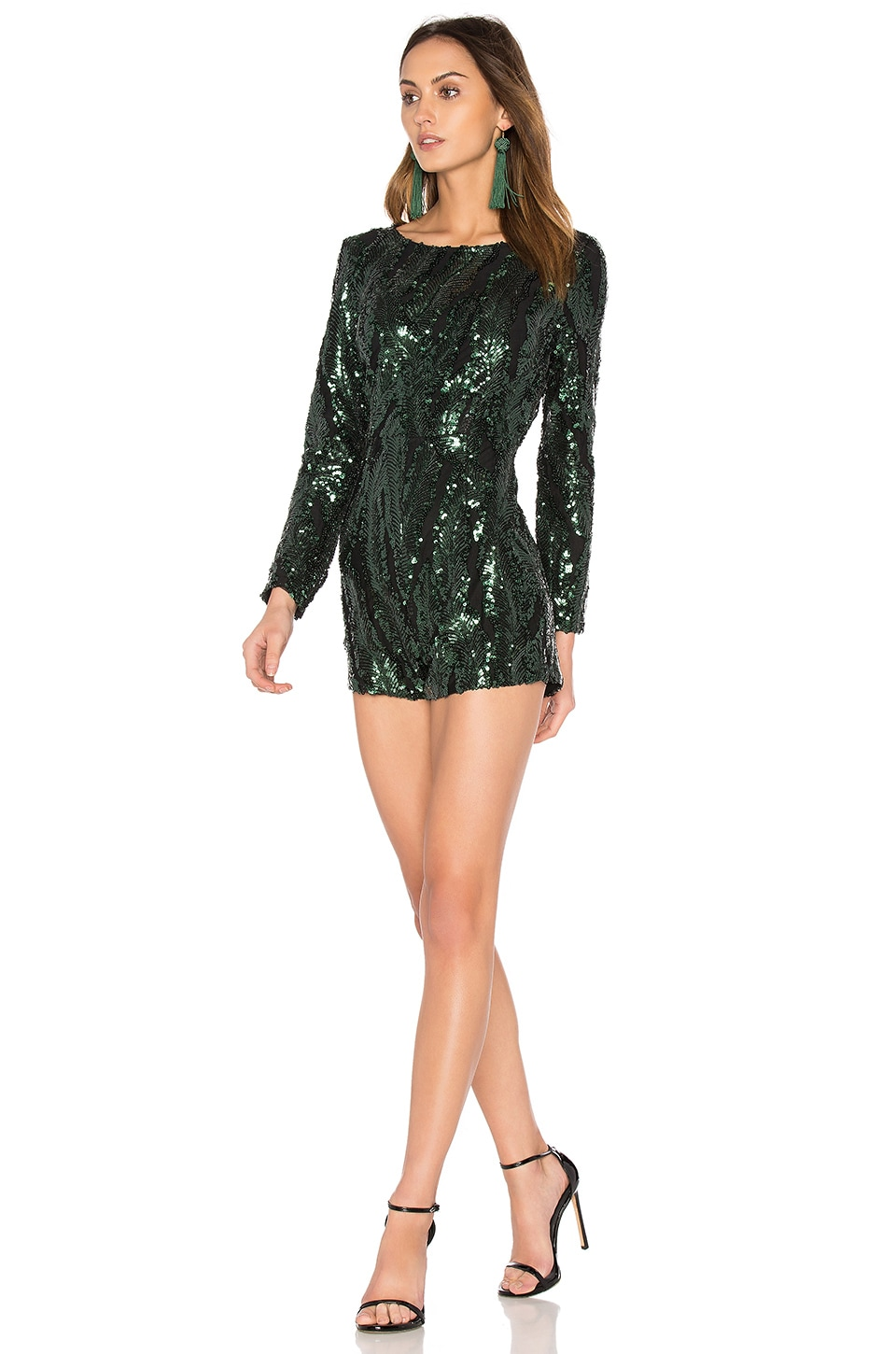 WYLDR All Night Long Playsuit in Green Sequin